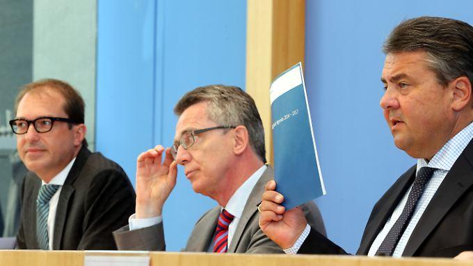 Die beteiligten Minister: Alexander Dobrindt, Thomas de Maizière und Sigmar Gabriel.