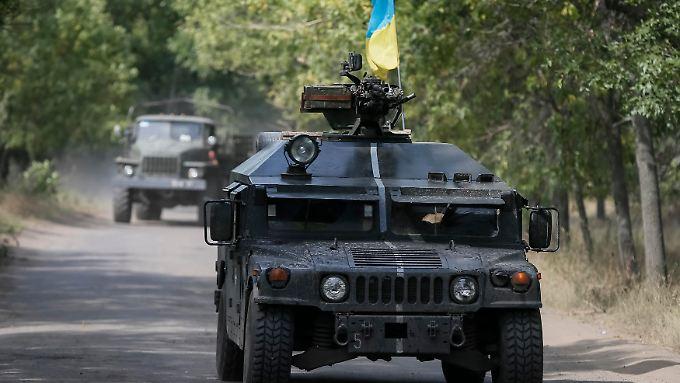 Ein ukrainisches Panzerfahrzeug in der Nähe von Kramatorsk.