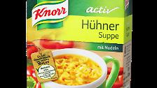 """... """"Knorr Activ Hühnersuppe"""" von Unilever. Die Suppe enthalte kein Hühnerfleisch, bemängelt Foodwatch. Der Hersteller vertritt hingegen die Ansicht, Hühnersuppe müsse lediglich Hühnerbestandteile enthalten - denn: Entscheidend sei der Geschmack. Beim nächsten Produkt ..."""