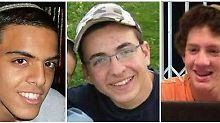 Eyal Yifrah (19), Gilad Shaar (16) und Naftali Fraenkel (16) (v.l.) wurden am 12. Juni entführt. Zwei Wochen später wurden ihre Leichen gefunden.