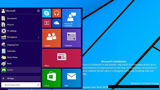 """So sieht das neue Startmenü der """"Windows Technical Preview"""" aus."""