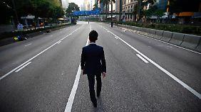 Normalerweise herrscht im Hongkonger Finanzdistrikt viel Trubel - die Proteste haben das Viertel jedoch lahmgelegt.