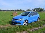 """Der neue Polo macht sich in der Farbe """"Cornflower Blue"""" nicht nur auf dem Feld gut."""