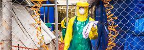Eine Ebola-Hilfsstation in Freetown, Sierra Leone