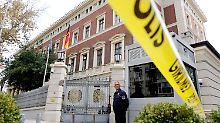 Die deutsche Botschaft nach dem Alarm: Das Gelände wurde sicherheitshalber abgeriegelt.
