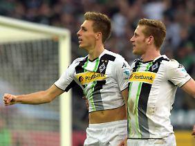 Umschaltkönige: Dank schneller Flügelspieler wie André Hahn und Patrick Herrmann (l.) zählt Borussia Mönchengladbach zu den besten Konterteams der Liga.