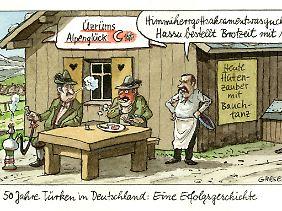 Die Karikatur erschien in einem Schulbuch für das Fach Gemeinschaftskunde und Wirtschaft.