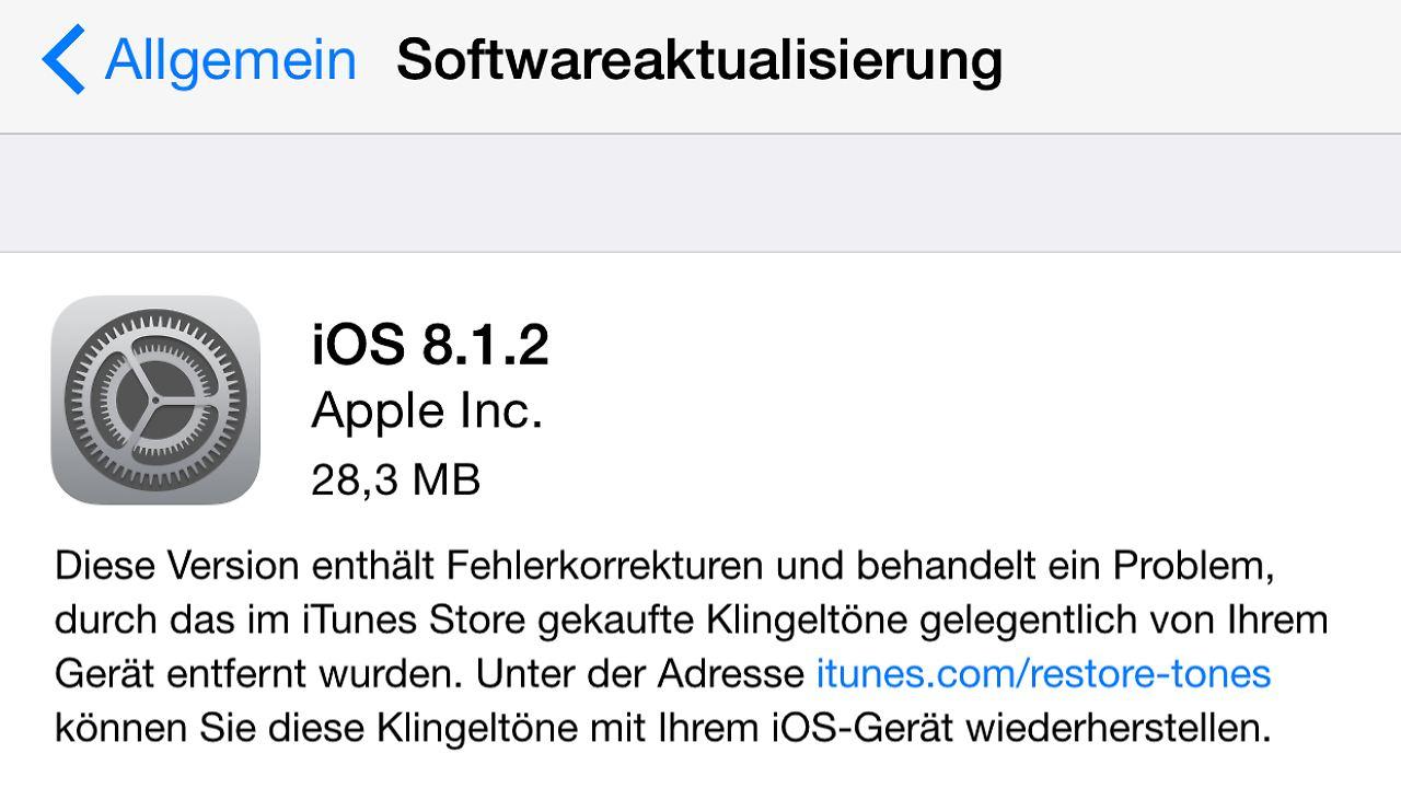 Klingeling, ein Update ist da: Warum iPhones iOS 8.1.2 erhalten - n on