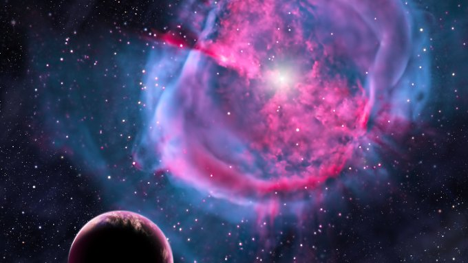 Grafik eines erdähnlichen Planeten, der um seine Sonne kreist.