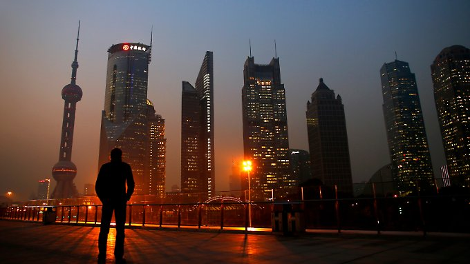 Blick auf den Finanzdistrikt von Shanghai.