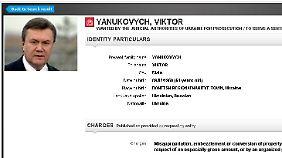 Viktor Janukowitsch hat einen Platz auf der Internetseite von Interpol bekommen.
