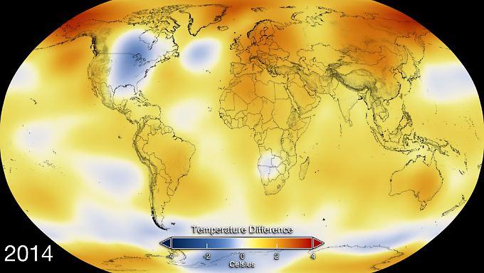 Die Karte zeigt die im vergangenen Jahr gemessenen Temperatur-Anomalien. Gegenüber dem Durchschnittswert im 20. Jahrhundert hat die globale Temperatur 2014 um 0,68 Grad Celsius zugelegt.