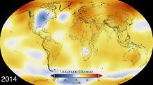 Die Karte zeigt die 2014 gemessenen Temperatur-Anomalien. Gegenüber dem Durchschnittswert im 20. Jahrhundert hat die globale Temperatur um 0,68 Grad Celsius zugelegt.