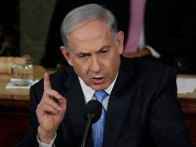 Ein Mann der starken Worte: Israels Ministerpräsident Benjamin Netanjahu bei seiner Rede im US-Kongress.