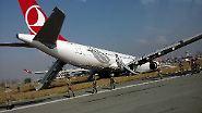 … sodass der Airbus im Gras neben der Landebahn zum Stehen kommt.