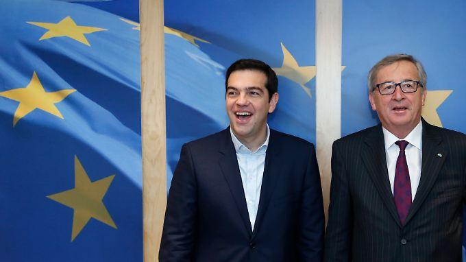 Der EU-Kommissionspräsident steht kurzfristig nicht für ein Vier-Augen-Gespräch zur Verfügung: Alexis Tsipras (l.) und Jean-Claude-Juncker, hier bei einem Treffen Anfang Februar.
