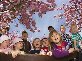 Der Frühling macht gute Laune, auch bei den Kleinen.