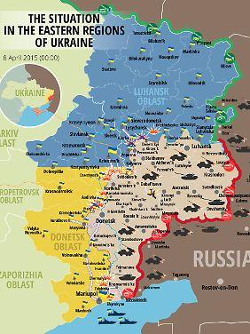 Die Frontlinie in der Ostukraine