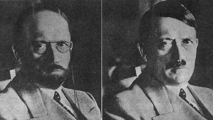 Der US-Geheimdienst spekulierte bereits 1944, wie Hitler auf der Flucht aussehen könnte: ohne Bärtchen und Scheitel, aber mit Brille. 1945 wurde das Bild in Deutschland verteilt, weil unklar war, ob Hitler wirklich tot war.