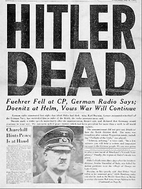"""Titelseite der US-Army-Zeitung """"Stars & Stripes"""" vom 2. Mai, nachdem bekannt geworden war, dass Hitler tot ist."""