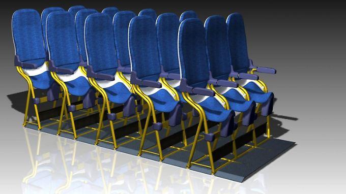 Die Sessel erlauben einen Sitzabstand von nur 58 Zentimetern.