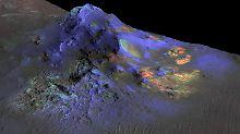 Der Alga-Krater auf dem Mars - auch hier haben die Forscher Glas nachgewiesen. Die grün eingefärbten Flächen zeigen, wo.