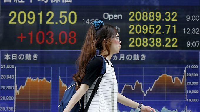 Im Laufe des Handelstages stieg der Nikkei bis auf 20.953 Punkte - der höchste Stand seit Dezember 1996.