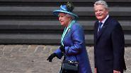 Mit Ständchen im Sonnenschein: Die Queen besucht zum ersten Mal Frankfurt