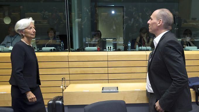 IWF-Chefin Lagarde und Athens Finanzminister Varoufakis bei einer der jüngsten Verhandlungsrunden.