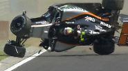Force-India-Pilot Sergio Perez sorgt für einen Schockmoment beim Freien Training zum Großen Preis von Ungarn.