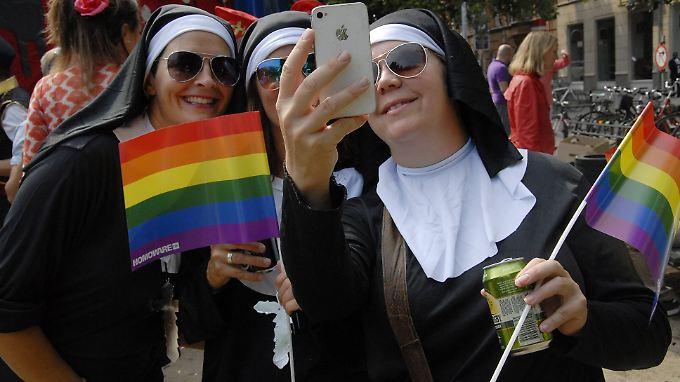 Teilnehmer der Gay Parade in Kopenhagen.