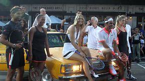 Einstimmung auf US Open: Alte und neue Tennis-Elite spielt in den Straßen New Yorks