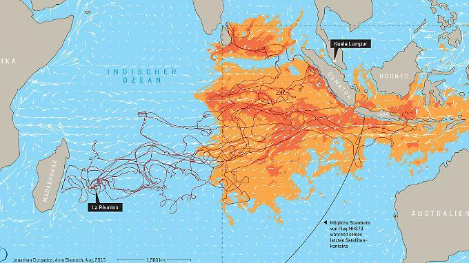 Die Gebiete mit den höchsten Wahrscheinlichkeiten sind farblich hervorgehoben.