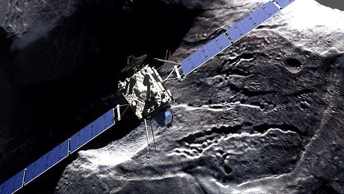 """Das Foto zeigt die simulierte Annäherung """"Rosettas"""" an den Kometen """"67P/Tschurjumow-Gerassimenko""""."""