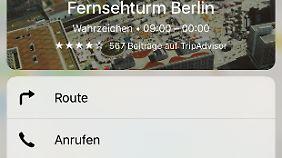 Innerhalb der Karten-App eröffnet der feste Druck auf einen Ort neue Möglichkeiten.