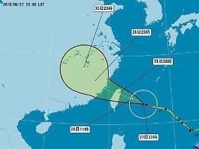 Der mögliche Weg des Taifuns auf der Karte des taiwanesischen Wetterdienstes: Im Einzugsbereich leben mehr als 100 Millionen Menschen.