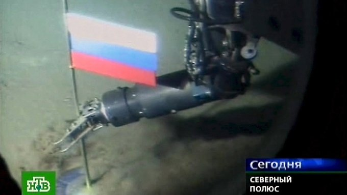 Im Meeresboden am Nordpol steckte schon 2007 die russische Flagge. Gas, Öl und wertvolle Metalle werden dort vermutet.