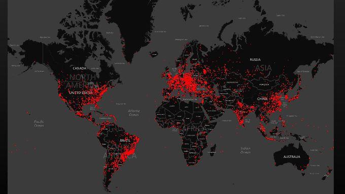 Die roten Bereiche zeigen, wo sich Dorkbot in den vergangenen Monaten ausgebreitet hat.