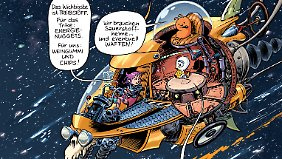 Mit einem Weltraum-Trike suchen Violet und ihre Begleiter Elliot und Zachäus nach dem Vater.