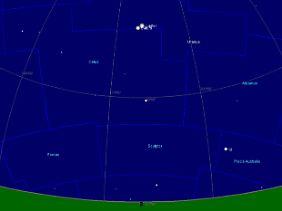 Im Jahr 7 v. Chr. standen Jupiter und Saturn dreimal so dicht beieinander am Himmel, dass sie fast zu einem einzigen Lichtfleck verschmolzen. Hier der Südsternhimmel über Jerusalem am 12. November besagten Jahres.