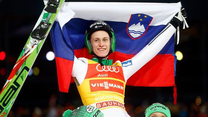 Gut, besser, Peter Prevc: Der Slowene gewann drei von vier Springen der 64. Vierschanzentournee und siegte mit riesigem Vorsprung.