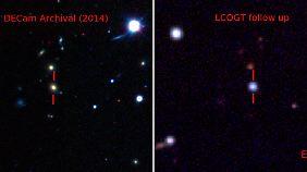 Die Heimatgalaxie der Supernova vor der Explosion (links) und die Supernova selbst (rechts).