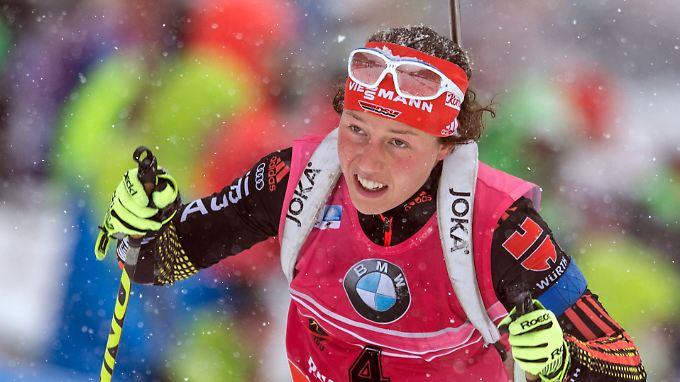 Laura Dahlmeier wurde auf der Schlussgerade noch abgefangen.