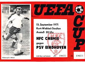 Programmtitel zum Uefa-Cup-Spiel des HFC Chemie gegen die PSV Eindhoven.