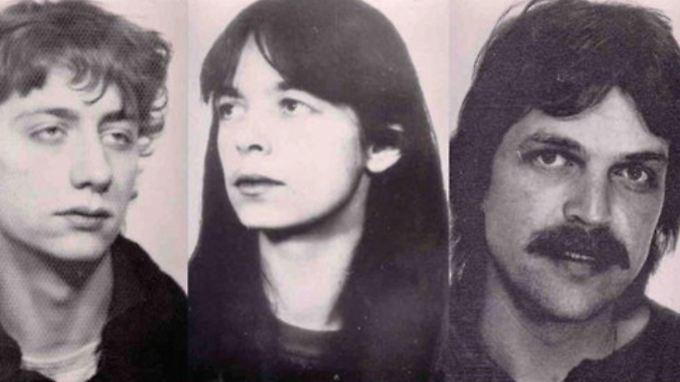 Burkhard Garweg, Daniela Klette  und Volker Staub (v.l.) auf einem Fahndungsplakat des BKA