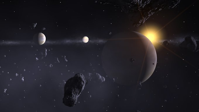 Die Illustration eines fernen Planetensystems - was um den Stern KIC 8462852 vorgeht, ist völlig unklar.
