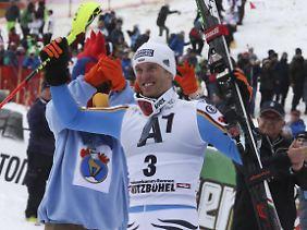 Fritz Dopfer lag nach dem ersten Durchgang auf Rang 1 in Kitzbühel, am Ende wurde er Dritter.