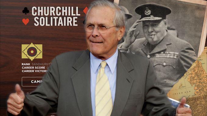 Rumsfeld hat die Entwickler von Churchill Solitaire mit Memos bombardiert..