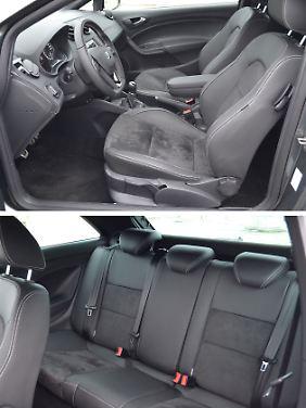 Vorne als auch hinten sind die Sitzflächen stark konturiert. Das sichert festen Halt bei Kurvenfahrten, Kindersitze lassen sich aber nur schlecht befestigen.