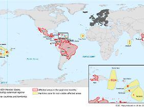Die Karte zeigt rot schraffiert, wo sich das Zika-Virus in den vergangenen neun Monaten innerhalb des jeweiligen Landes ausbreitete - also nicht eingeschleppt wurde.